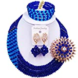 aczuv 5 Rows Nigerian Beads Jewelry Set African Beads Necklace Wedding Party Jewelry Sets