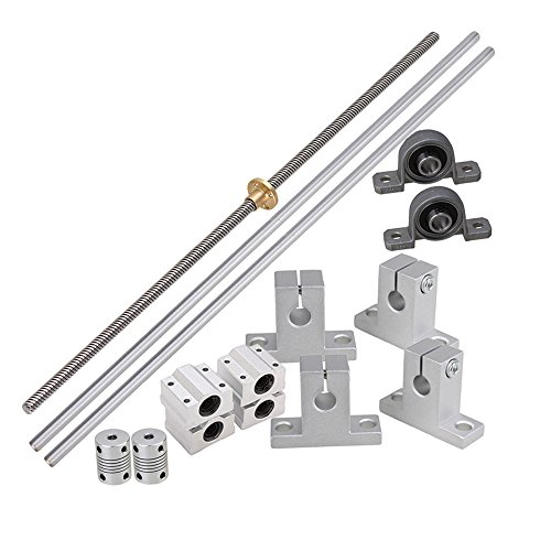 BQLZR Horizontal Linear 400mm Optical Axis & 8mm Lead Rods with Nuts Linear Slide Block & Stepper Coupler Dual Rail Support Pack of (400 Mm Adaptor)