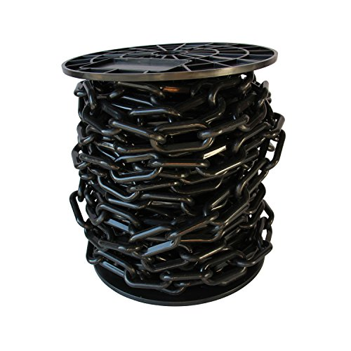 RCH Hardware CH-P55-08-BLK-65 Decorative Light-Weight Plastic Chain For Planters, Crowd Control SAFETY Barriers, Queue Line Stanchions, Bright Décor Hanging Accessory | 1 Reel/65