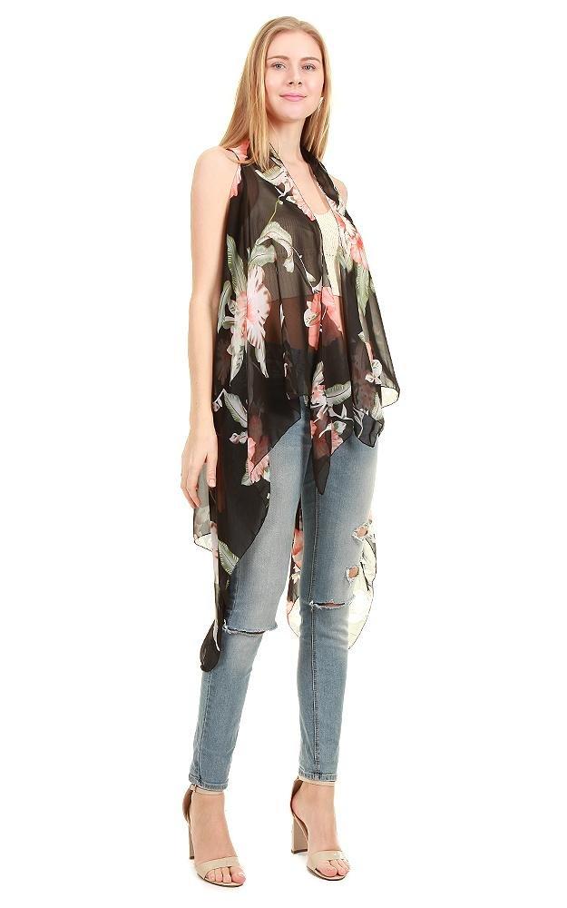 chicchicfashionworld CCFW Sleeveless Breezy Chiffon Open Front Asymmetric Scarf Vest (Black Flower)