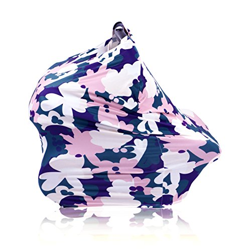 (Nursing Cover Up and Baby Car Seat Canopy - Multi Use Breastfeeding Nursing Cover for Boys and Girls - Doubles as Infinity Scarf - Navy and Pink Floral Pattern - Great Gift for New Moms)