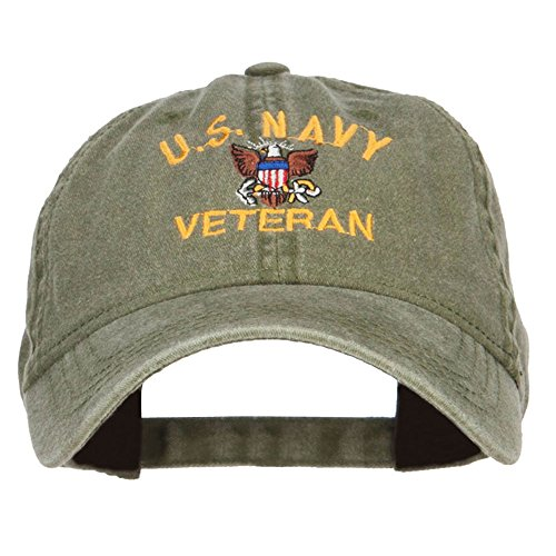 E4hats US Navy Veteran Military Embroidered Washed Cap - Olive OSFM (Cap Baseball Embroidered Veteran)