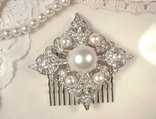 - White Ivory Pearl & Pave Rhinestone Art Deco Bridal Hair Comb from Vintage Brooch, Simulated Pearl Fleur-de-lis Design