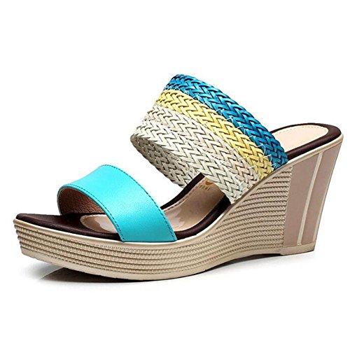 L@YC Frauen Sommer Dicke Dicke Sandalen High Heel Wasserdicht Plateau Hang Mit Der GrößE Des Wortes Ziehen Schuhe , blue , 38