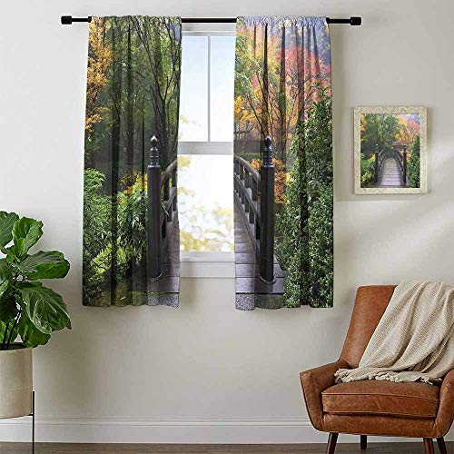 Nature, Curtains Bathroom Window, Wooden Bridge at Portland Japanese Garden Oregon in Foggy Autumnal Morning Park, for Bedroom, W54 x L39 Inch Green Coral (Furniture Patio Oregon Portland)