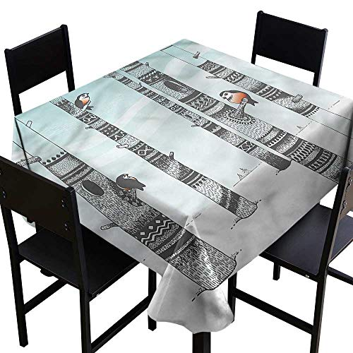 haommhome Waterproof Tablecloth Winter Bullfinches in Carving Woods Table Decoration W70 xL70 Waterproof/Oil-Proof/Spill-Proof Tabletop Protector