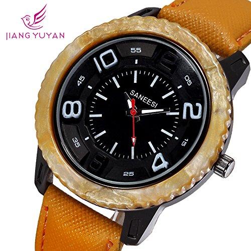 9 colores SANEESI marca hombre Casual Relojes reloj de cuarzo analógico PU Correas de Cuero de moda los relojes de pulsera Relojes 2015 Estilo Trendy: ...