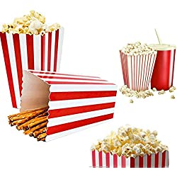Popcorn Boxes, Classic Popcorn Containers Paper Bags Stripe Box White Red Striped for Party Favor, 24 PCS