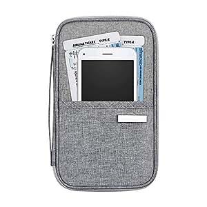 Passport Holder Travel Wallet, Waterproof RFID Blocking Family Ticket Card Multiple Bag Case Organizer with Zip for Men Women
