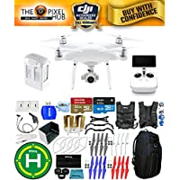 DJI Phantom 4 Advanced+ Drone MEGA Ready To Fly EXTREME ACCESSORY BUNDLE with Blue Pro II Backpack, Vest Strap, Extra Props, Landing Pad Plus Much More (1 Battery Total)