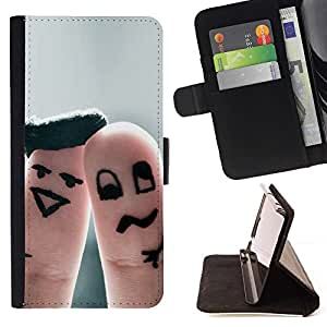 Momo Phone Case / Flip Funda de Cuero Case Cover - Dedo Pareja divertido - Samsung Galaxy S6 Edge Plus / S6 Edge+ G928