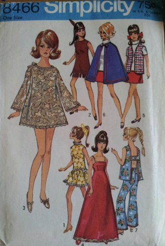 (Simplicity 8466 Sewing Pattern 11 1/2 inch Doll Wardrobe for Barbie Maddie Mod)