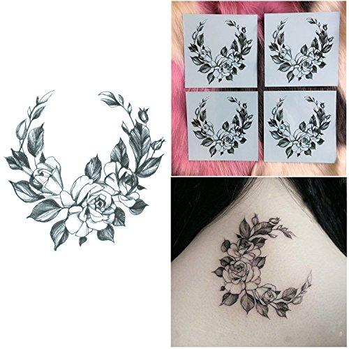 DaLin 4 Sheets Sexy Floral Temporary Tattoos for Women Flowers Collection (Rose Garland) (Hip Garland Rose)