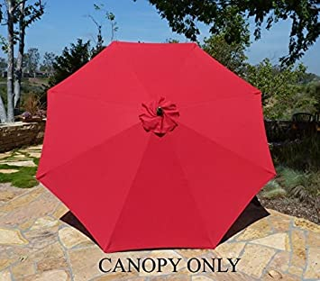 Charming Replacement Umbrella Canopy For 9ft 8 Ribs Red (CANOPY ONLY)