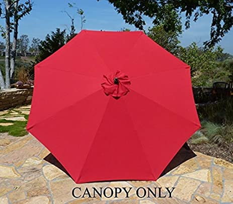 Replacement Umbrella Canopy For 9ft 8 Ribs Red (CANOPY ONLY)