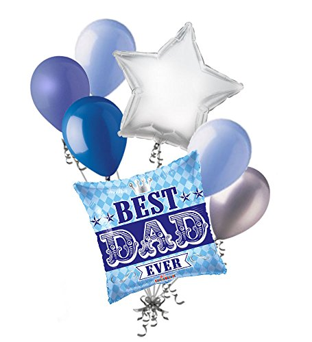 - Jeckaroonie Balloons 7 pc Royal Best Dad Ever Happy Father's Day Balloon Bouquet Party Decoration