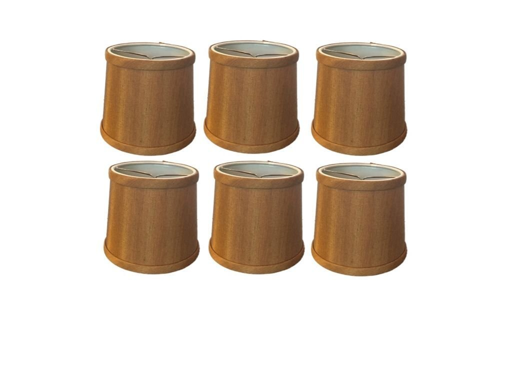 Upgradelights Bronze Silk 5 Inch Tapered Drum Clip On Chandelier Lampshade (Set of six) 4x5x5