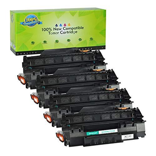 (NineLeaf Compatible Toner Cartridge Replacement for HP 53A Q7553A Laserjet M2727MFP M2727NF P1160 P1320 P1320N P2010 P2014 P2015 P2015D P2015DN P2015N P2015X Laser Printer (Black,4 Pack))