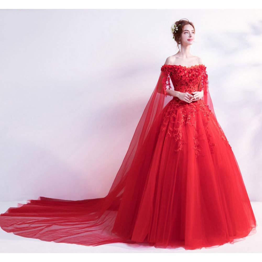 L BINGQZ Dress Cocktail Dresses Casual Red Evening Dresses Off Shoulder Flower Lace Applique Sequined Prom Gowns Chapel Train Vestidos Largos De Noche