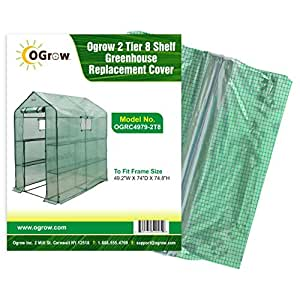 "oGrow OGRC4979-2T8 2 Tier 8 Shelf Greenhouse PE Replacement Cover (To Fit Frame Size 49.2""W X 74""D X 74.8""H)"