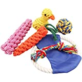 Petfunny Dog Rope Toys Set With Frisbee Dog Teething Animal Toys Chew Toys Perfect for Small and Medium Dogs (6 Pack)