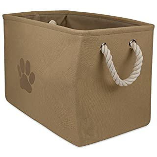 """DII Bone Dry Medium Rectangle Pet Toy and Accessory Storage Bin, 16x10x12"""", Collapsible Organizer Storage Basket for Home Décor, Pet Toy, Blankets, Leashes and Food-Taupe Paw Print"""