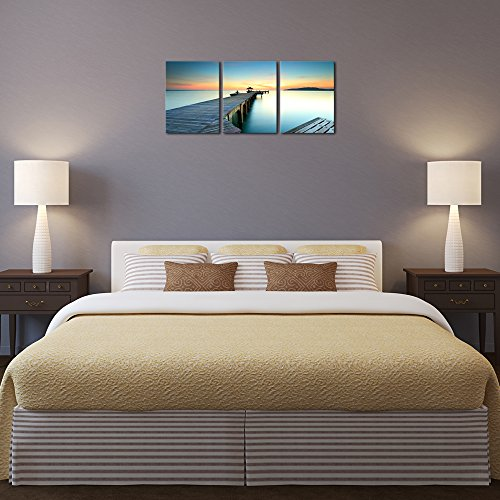 Wieco Art - 3 Piece Seascape Canvas Prints Wall Art Sunset Ocean Beach Pictures Paintings for Kitchen Bedroom Home Wall Decorations Bridges over the Sea Modern Stretched and Framed Giclee Artwork