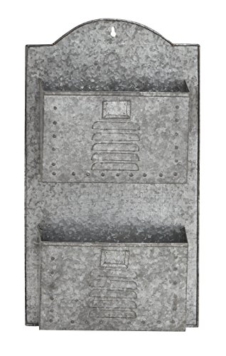 "Deco 79 49107 Metal Galvanize Wall Pocket Décor, 15""W/26""H from Deco 79"