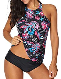 Ebuddy Women Two Piece Plus Size Backless High Neck Halter Floral Printed Top with Hipster Bottoms Tankini Set