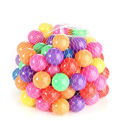 ele ELEOPTION Hengwei Pack of 100 Phthalate Free BPA Free Crush Proof Plastic Ball, Pit Balls - 7 Bright Colors in Reusable and Durable Storage Mesh Bag