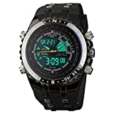 INFANTRY Mens Big Face Dual Display Military Digital Sport Wrist Watch, Black Silicone Rubber Band