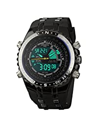 INFANTRY Mens Military Army Sport Analog-Digital Black Quartz Watch, Aviator Pilot Style