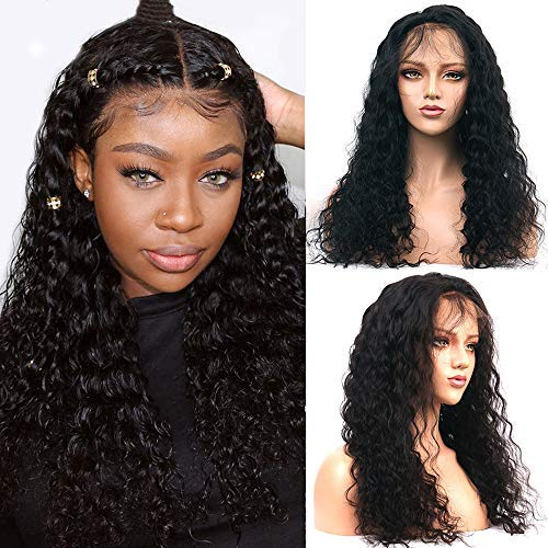 HCDIVA Kinky Straight 360 Yaki Lace Frontal Human Hair Wigs Pre Plucked with baby hair150% Density Peruvian Lace Front Wig Glueless Human Hair Wigs For Women (12inch, 360curly) from HCDIVA