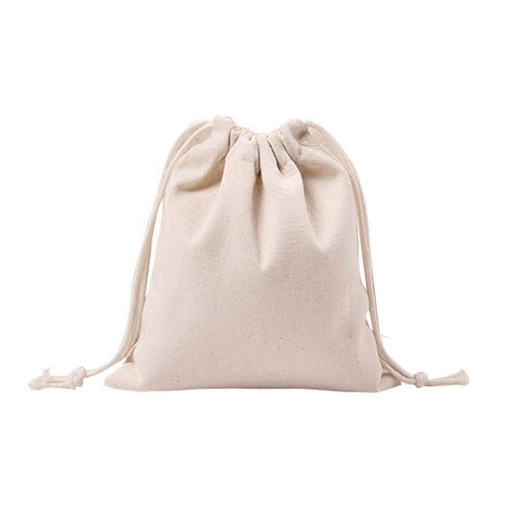 TOOGOO Women Girls Solid White Drawstring Beam Port Shopping Bag (14cmx16cm)