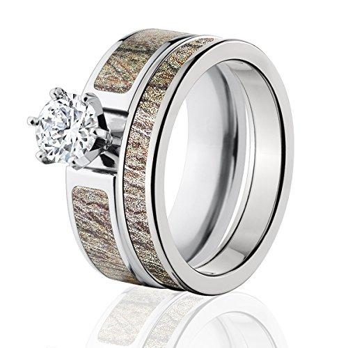 Mossy Oak Camo Bridal Set, Camo Wedding Rings, Brush Camo Rings
