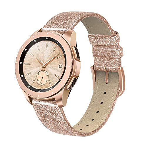 SWEES Genuine Leather Band Compatible for Galaxy Watch 42mm & Gear S2 Classic & Gear Sport, 20mm Learther Bands with Quick Release for Galaxy Watch Active 2 Smart Watch 2019 Women, Glitter Rose Gold