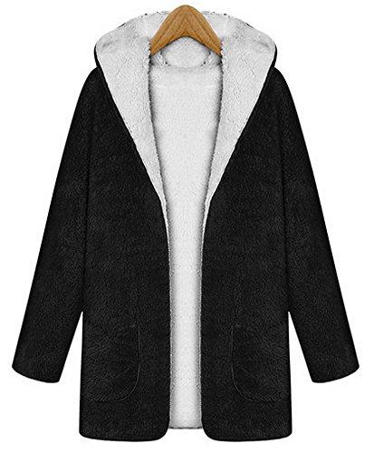 Vocni Women Hoodie Winter Berber Fleece Long Coat (Berber Coat)