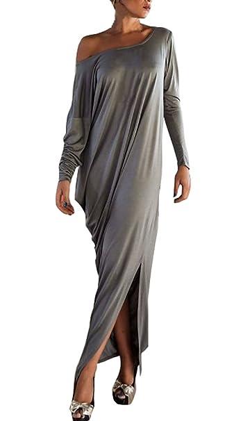 Lannister Fashion Mujer Vestidos De Fiesta Largos Tallas Grandes Elegantes Vestido De Otoño Manga Larga Off Shoulder Vestir Informales Colores Sólidos Moda ...