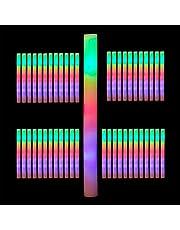 48 x lichtstaaf led, gekleurde foamstick, 3 instellingen, van schuimstof, batterijen inbegrepen, lichtbuis, wit