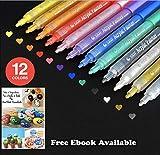 Set of 12 Acrylic Paint Pens for Rock Painting, Ceramic, Porcelain, Glass, Stones, Pebbles, Fabric, Wood & DIY Mug Design. Permanent Water Based Medium Tip Marker Pen