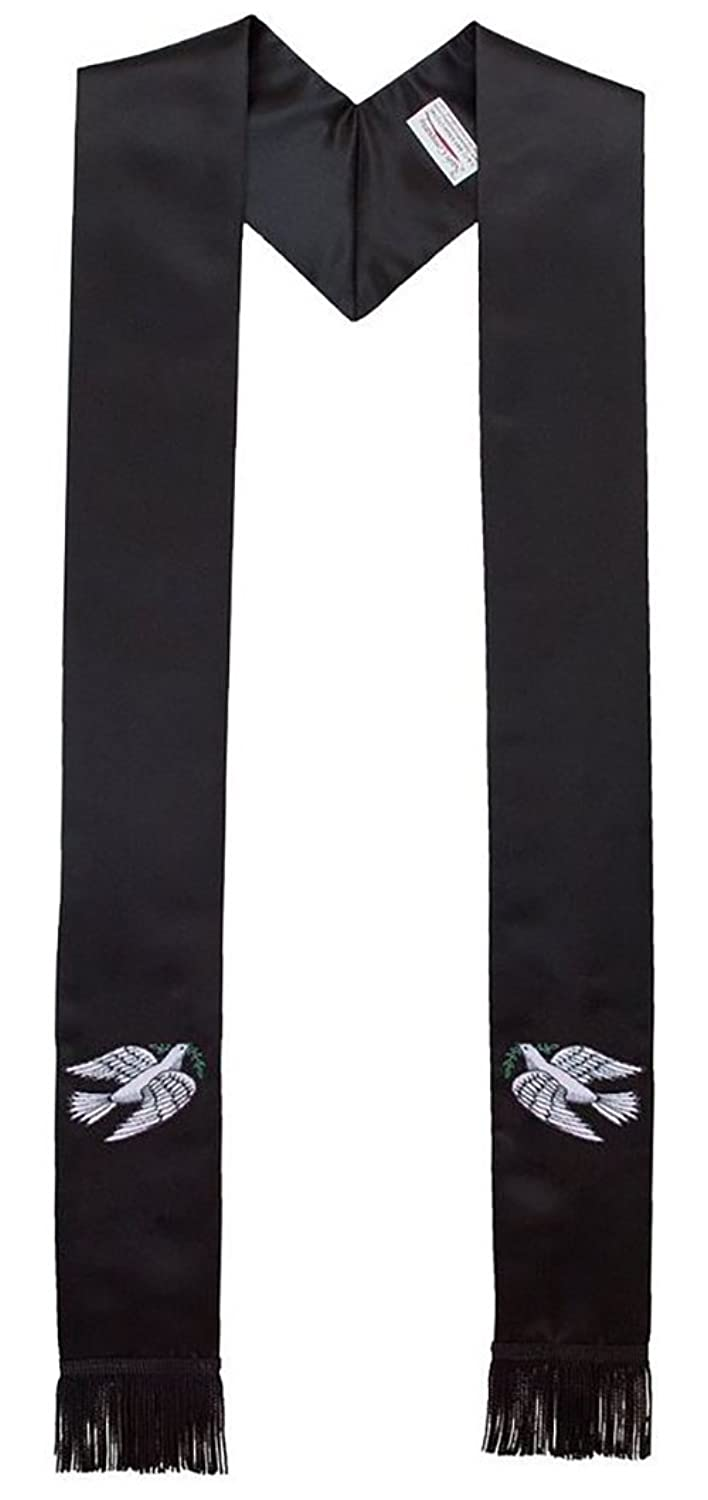 """Dove of Peace 114"""" Extended Length Satin Clergy Stole in Black"""
