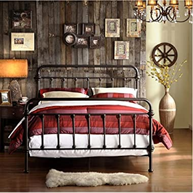 Giselle Antique Dark Bronze Graceful Lines Victorian Iron Metal Bed (Queen Size)