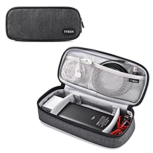 TYCKA Mini Travel Electronics Accessories Storage Bags with Two Adjustable Dividers for Cable, Cord, USB, SD Cards, Chargers, Deep Gray