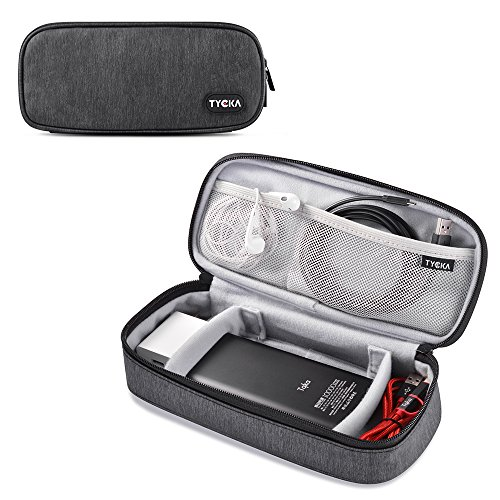 (TYCKA Mini Travel Electronics Accessories Storage Bags with Two Adjustable Dividers for Cable, Cord, USB, SD Cards, Chargers, Deep)