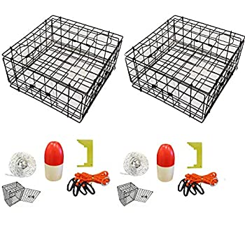 Image of 2-Pack of KUFA Vinyl Coated Crab Trap & Accessory kit (100' Non-Lead Sinking line,Clipper,Harness,Bait Bag & 11' Float) (S60+CES1) x2 Canoes