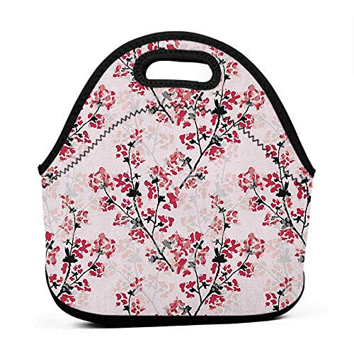 Rugged Lunchbox Floral,Nature Inspired Blush Hazy Flowers on Tree Branches Romantic Season Art Design, Rose Ruby Black,gator lunch bag for men