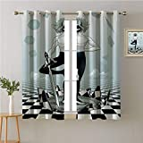 Jinguizi Tarot Card Grommets Drapes/Draperies,Mystic Man with a Sword Standing on Checkered Space,Fashion Darkening Curtains,72W x 45L