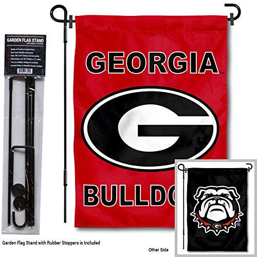 (College Flags and Banners Co. Georgia Bulldogs Double Logo Garden Flag with Stand Holder)