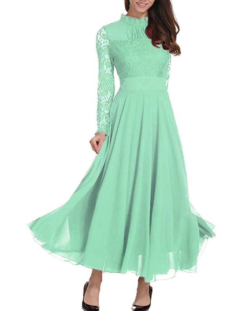 Aox Womens Elegant Long Sleeve Floral Chiffon Lace A Line Long Maxi Party Evening Bridesmaid Swing Dress