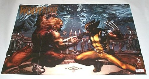 "36 by 24"" Wolverine vs Sabertooth 3 by 2 foot Marvel Comic Dealer Promo Poster"